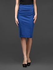 Blue High Waist Pencil Fit Skirt - Kaaryah