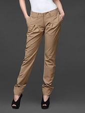 Khaki Pleated Straight Fit Formal Trousers - Kaaryah
