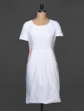 White Cotton Dress With Pleating Detail - Kaaryah