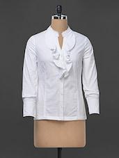 White Ruffle Detail Formal Shirt - Kaaryah