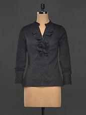 Black Ruffle Detail Formal Shirt - Kaaryah
