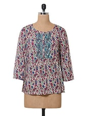 Paisley Printed Round Neck Viscose Top - Oxolloxo