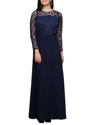 navy blue crepe fit & flare dress