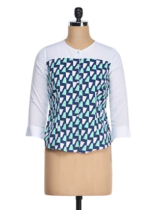 White Yoke & Sleeves Printed Crepe Top