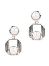Silver Metal Pearl Drop Earrings - YOUSHINE