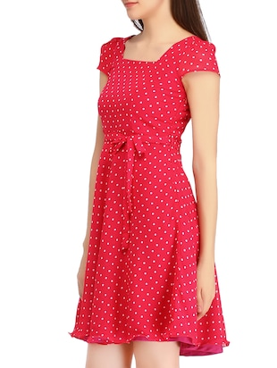 dark pink georgette fit & flare dress - 10282676 - Standard Image - 2