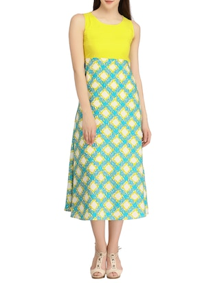 yellow colored crepe A line dress
