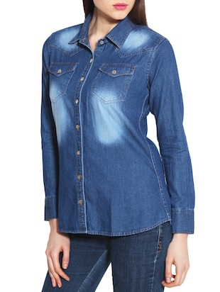 dark blue denim shirt - 10288857 - Standard Image - 2