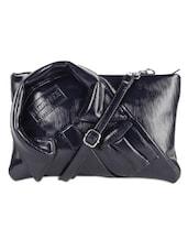 Textured Dark Blue Faux Leather Sling Bag - LOZENGE