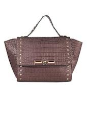 Solid Brown Embellished Handbag - LOZENGE