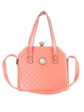 Solid Peach Textured Handbag - LOZENGE