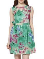 Keyhole Floral Print Polyester Dress - MARTINI