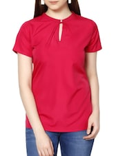 Neck Button Polyester Top - MARTINI