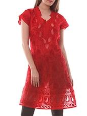 Red Cotton Chikankari Kurta - By