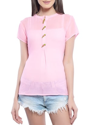 pink poly georgette top