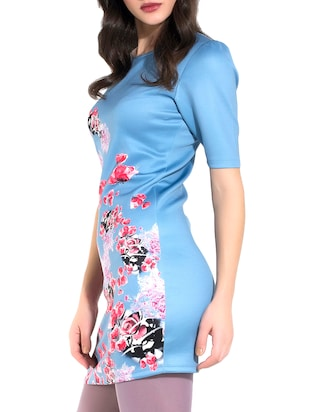 Blue floral print bodycon dress - 10293668 - Standard Image - 2