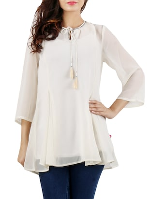 white Georgette casual top