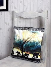 Jungle Elephants  Poly Velvet Cushion Cover - RAGO