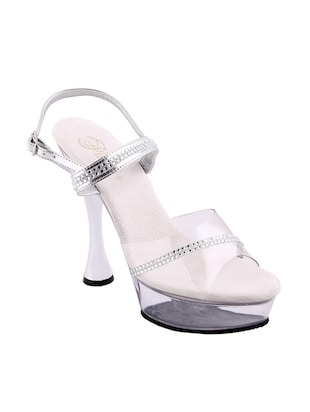 white leatherette sandals