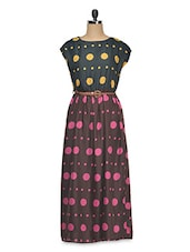Rayon Printed Cap Sleeve Maxi Dress - Queens