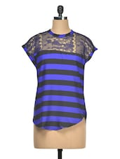 Striped Cap Sleeves Poly Crepe Top - Queens