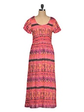 Rayon Printed Short Sleeve Maxi Dress - Queens