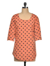 Poly Crepe Three-quarter Sleeve Printed Top - Queens