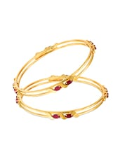 Gold ,  Red Ruby Bangle - By