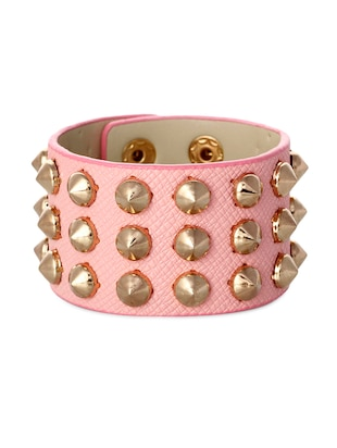 pink leather, metal alloy bracelet