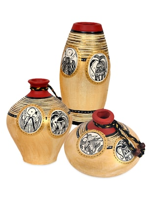 Light Gold Terracotta Vases Set