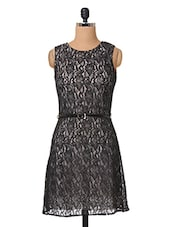 Black Round Neck Lace Dress - The Vanca