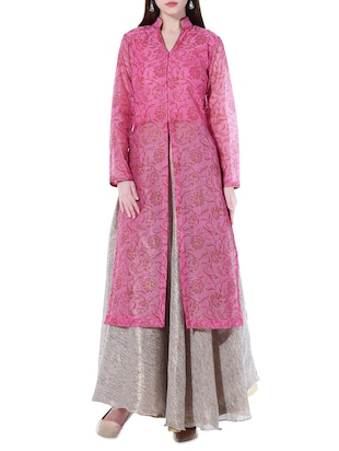 Kaanchie Nanggia Pink and gold long jacket and skirt set