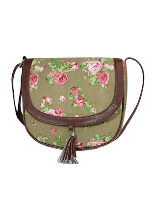 Olive Green floral canvas sling bag