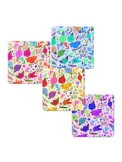 """Flower With Leaves"" Printed Mdf Coaster Set - Shopkeeda"