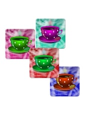 """Colorful Tea Cup"" Printed Mdf Coaster Set - Shopkeeda"
