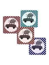 """Car With Luggage"" Printed Mdf Coaster Set - Shopkeeda"