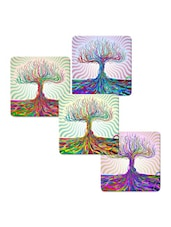 """Colorful Tree"" Printed Mdf Coaster Set - Shopkeeda"