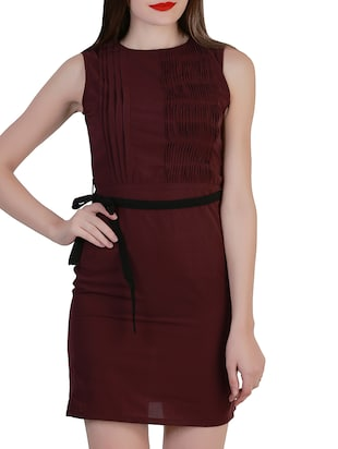 wine crepe dress