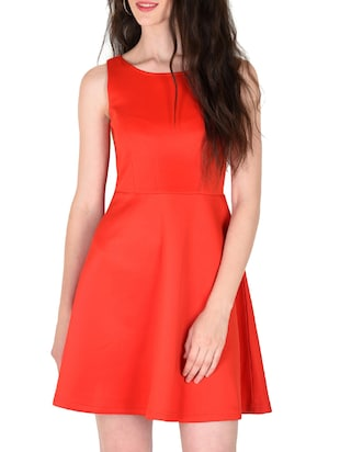 red poly cotton dress