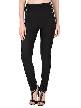 black cotton jeggings