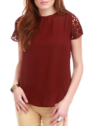 maroon poly cotton regular top