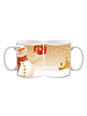Snow Man With Gift Printed Mug - Start Ur Day