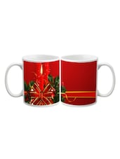 Red Candle Bow Attached Printed Mug - Start Ur Day