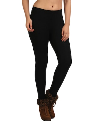 black fleece woolen legging