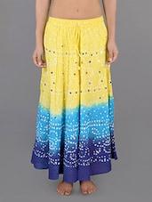 Cotton Embellished Bandhej Printed Long Skirt - Rajasthani Sarees