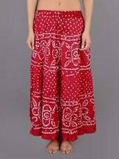 Red Cotton Embellished Long Skirt - Rajasthani Sarees