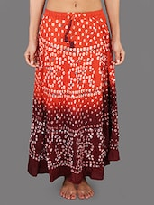 Orange & Maroon Cotton Bandhej Long Skirt - Rajasthani Sarees