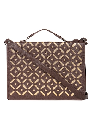 brown leatherette sling bag
