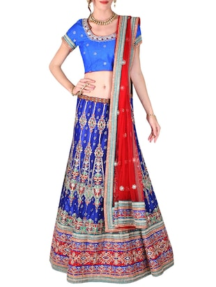 blue art silk and net aline lehenga