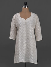 Quarter Sleeves Chikankari Cotton Kurta - Concepts